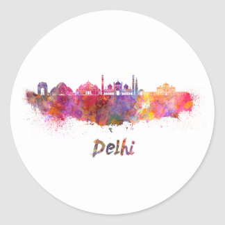 Delhi skyline in watercolor classic round sticker