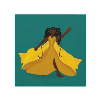 Delia in a Yellow Dress Wood Print
