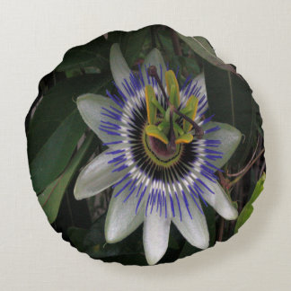 Delicate and Beautiful Passiflora Flower Round Cushion