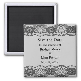 Delicate and Lacy Save the Date Magnet (gray)