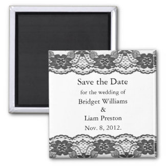 Delicate and Lacy Save the Date Magnet (white)