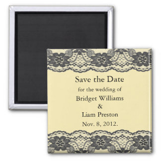 Delicate and Lacy Save the Date Magnet (yellow)