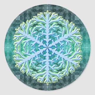 Delicate Aqua Ice Crystal Snowflake Sticker