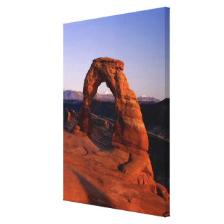 Delicate Arch at Sunset with snow covered La Canvas Print