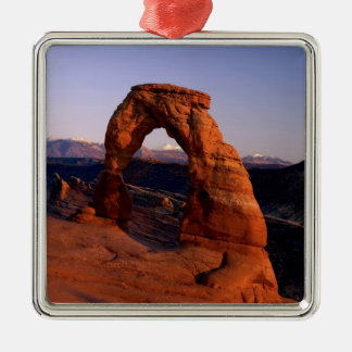 Delicate Arch at Sunset with snow covered La Silver-Colored Square Decoration
