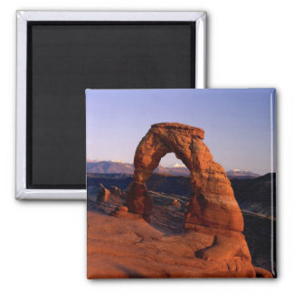 Delicate Arch at Sunset with snow covered La Square Magnet