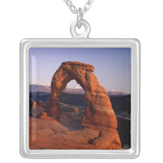 Delicate Arch at Sunset with snow covered La Square Pendant Necklace