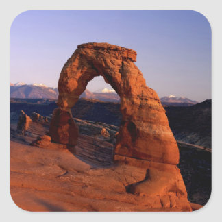 Delicate Arch at Sunset with snow covered La Square Sticker