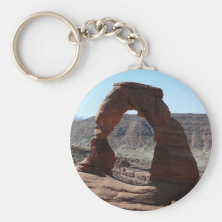 delicate arch basic round button key ring