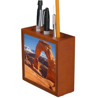 Delicate Arch With The Lasalle Mountains Beyond Desk Organiser