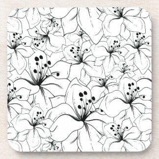 Delicate Black and White Floral Pattern Coaster