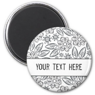 delicate black flowers on white with your text 6 cm round magnet