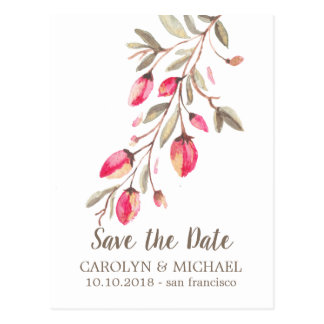 Delicate Bloom and Flourish Wedding Save the Date Postcard