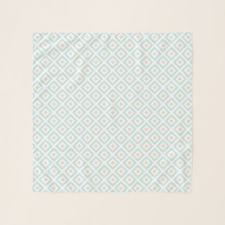 Delicate Blue and Beige Geometric Pattern Scarf