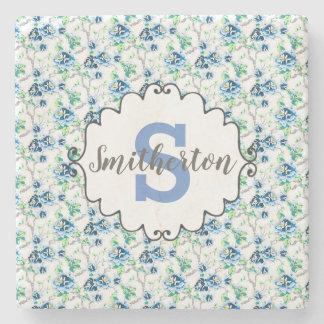 Delicate Blue and White Floral Monogram Stone Stone Coaster