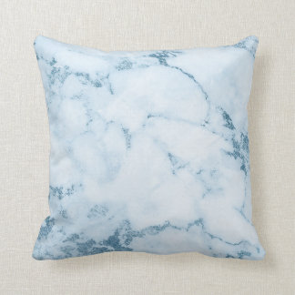 Delicate Blue Aquatic Frozen White Marble Vip Cushion