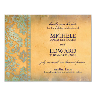 "Delicate Blue Grunge Damask Lace Save the Date 4.25"" X 5.5"" Invitation Card"
