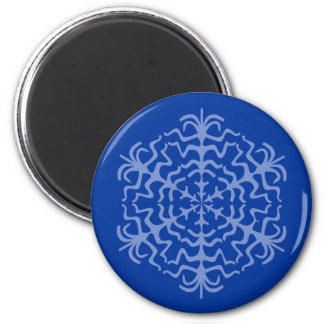 Delicate Blue Snowflake Ice Crystal 6 Cm Round Magnet