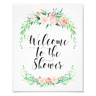 Delicate Bouquet Welcome to the Shower Print Photo Print