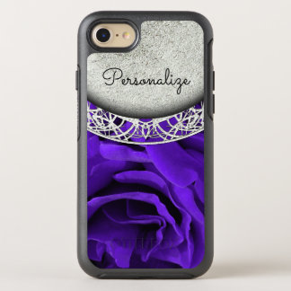 Delicate bright purple roses floral photo OtterBox symmetry iPhone 8/7 case