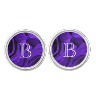 Delicate bright purple roses flower photo cufflinks