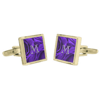 Delicate bright purple roses flower photo gold finish cufflinks