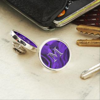 Delicate bright purple roses flower photo lapel pin