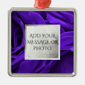 Delicate bright purple roses flower photo metal ornament