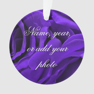 Delicate bright purple roses flower photo ornament