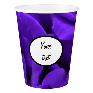 Delicate bright purple roses flower photo paper cup