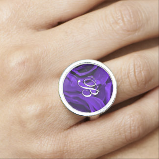 Delicate bright purple roses flower photo ring