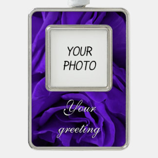 Delicate bright purple roses flower photo silver plated framed ornament