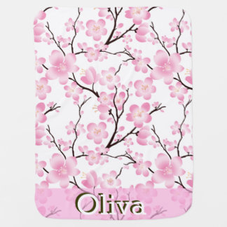 delicate cherry blossom pink white baby blanket