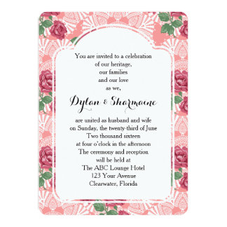 Delicate Country Chic Rose & Lace Wedding Suite 14 Cm X 19 Cm Invitation Card