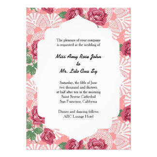 Delicate Country Chic Rose & Lace Wedding Suite Custom Invitation