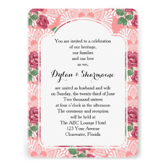 Delicate Country Chic Rose & Lace Wedding Suite Personalized Invite
