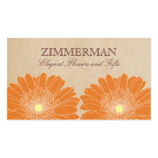 Delicate Daisies Business Card, Orange Flowers Pack Of Standard Business Cards
