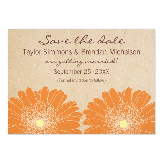 Delicate Daisies Save the Date Invite, Orange 13 Cm X 18 Cm Invitation Card