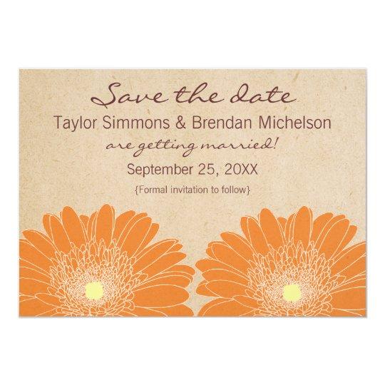 Delicate Daisies Save the Date Invite, Orange Card