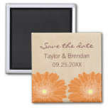 Delicate Daisies Save the Date Magnet, Orange