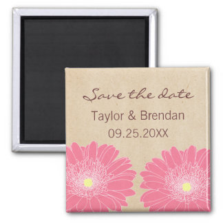 Delicate Daisies Save the Date Magnet, Pink Square Magnet