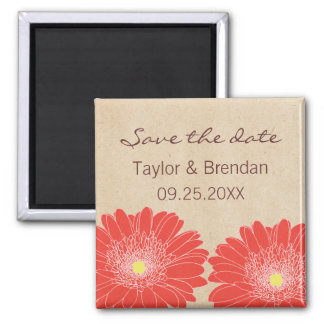Delicate Daisies Save the Date Magnet Red