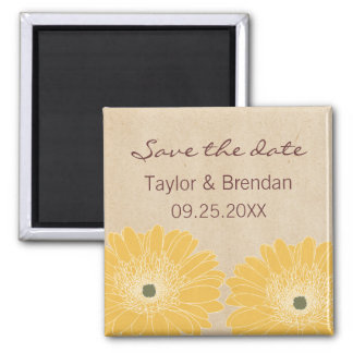 Delicate Daisies Save the Date Magnet, Yellow Square Magnet