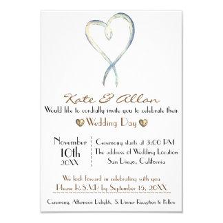 Delicate fancy Heart Wedding Invitation RSVP