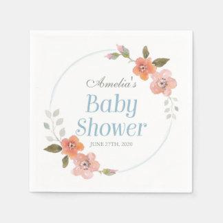 Delicate Floral Blue Boy Baby Shower Disposable Serviette