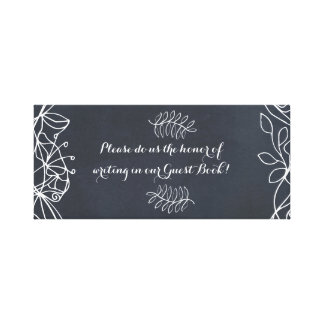 Delicate Floral Chalkboard Wedding Suite Canvas Print