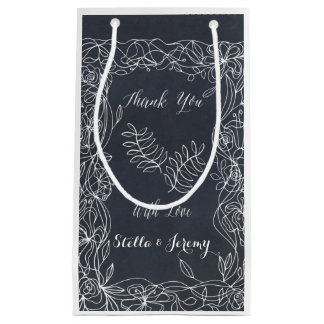 Delicate Floral Chalkboard Wedding Suite Small Gift Bag