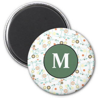Delicate floral design 6 cm round magnet