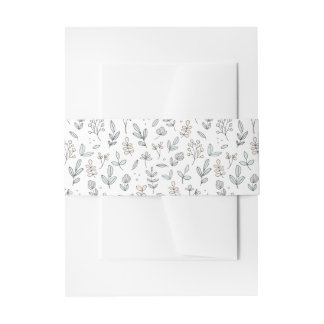 Delicate Floral Invitation Belly Band