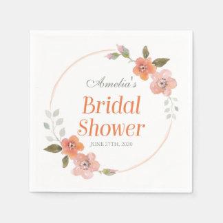 Delicate Floral Orange Bridal Shower Disposable Serviettes